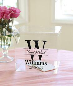 Personalisierte Hochzeit Karte Box klarem Acryl monogrammiert