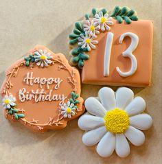 Flower Sugar Cookies, Birthday Cookies, Daisy, Happy Birthday, Desserts, Food, Happy Brithday, Tailgate Desserts, Deserts