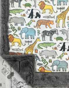 Zoo Animals Baby Blanket Designer Minky by TheDesignerMinkyCo