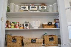 Pantry, great idea = tin bins  and baskets labeled with chalk board paint.