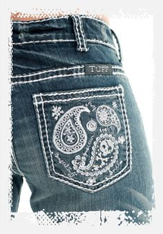 Paisley Bling Jeans by Cowgirl Tuff Co.-Katie's Coast to Coast, Cowgirl Tuff Co., Paisley Bling jeans, jean pockets with skulls