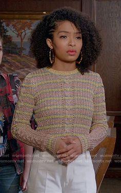 Zoey's metallic striped sweater on Black-ish.  Outfit Details: https://wornontv.net/70533/ #Blackish