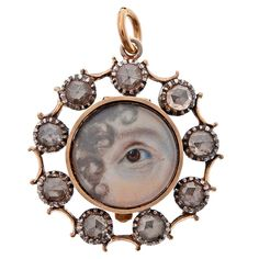 Victorian Hand Painted 'Lover's Eye', Rose Cut Diamond And 9k Yellow Gold Pendant     c,1860