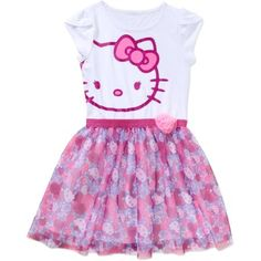 Hello Kitty Girls' Cap Tulip Sleeve Dress with Floral Applique