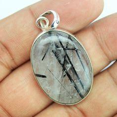 Black Rutile Quartz Sterling Silver Pendant – Jewels Exports