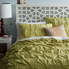 Organic Cotton Pintuck Duvet Cover + Shams - Leek   west elm