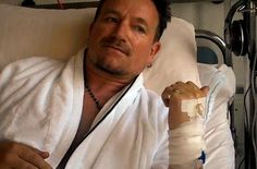 Bono in his hospital room, while recovering from spinal surgery in 2010.
