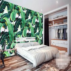 30.00$  Buy here - http://airqy.worlditems.win/all/product.php?id=32801056545 - Large scale custom wallpaper European retro hand-painted tropical forest plant Banana leaves pastoral wall murals background