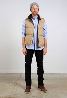 menswear, classic style, vest, down vest, winter, oxford, cloth, oxford shirt, beanie, chinos, west point twill, twill, cotton, cotton twill, leather, hiking boots, men's fashion, roden gray, wings and horns, nanamica, gitman, gitman bros, w+h