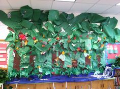 Rainforest mural in the classroom  Made from construction paper and crepe paper