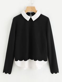 Shop Contrast Collar And Hem Scalloped Blouse online. SheIn offers Contrast Collar And Hem Scalloped Blouse more to fit your fashionable needs. Party Outfits For Women, Spring Shirts, Spring Blouses, Contrast Collar, Work Blouse, Blouse Outfit, Blouse Online, Fashion Outfits, Womens Fashion