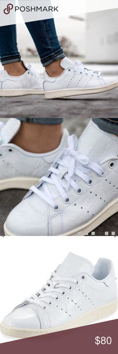 """Adidas Stan Smith Fashion Patent Leather Sneaker Like New!!🎉🎉 Only worn once!! Size 7.5 but this shoe runs about 1 size larger; therefore listed as a 8.5. adidas crinkled patent leather low-top sneaker. Retails at Neiman Marcus $100. Box not included. 1"""" flat heel. Round toe. Lace-up front. Perforated 3-Stripes® on sides. Stamped logo at tongue. Logo-print heel counter. OrthoLite® sockliner. Synthetic leather lining. Rubber cupsole. adidas Shoes Sneakers"""