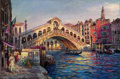 "CAO YONG ""Ponte Di Rialto, Venice"" LIMITED EDITION H/E CANVAS 20"" by 30"" Cao Yong In 1962, Cao Yong was born into in China. During the Cultural Revolution, his family was singled out for harsh treatme"