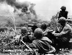 Marines Fire Machine Gun At Japanese Troops Saipan Pacific