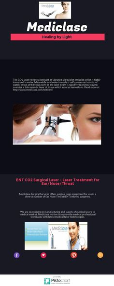 The CO2 laser releases constant or vibrated ultraviolet emission which is highly immersed in water. Meanwhile any lenient muscle is self-possessed mostly of water; tissue at the focal point of the laser beam is rapidly vaporized, leaving overdue a thin necrotic layer of tissue which assures hemostasis. For more info visit http://www.mediclase.com/ent.html