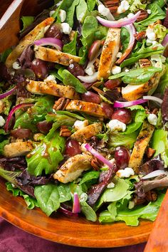 Grilled Chicken and Grape Spring Salad with Goat Cheese and Honey Balsamic Dressing   Cooking Classy