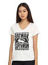 DC Comics Batman V Superman: Dawn Of Justice Logo Girls V-Neck T-Shirt,