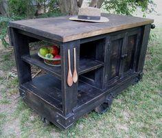 industrial rolling cart kitchen | Distressed Black Industrial Age Kitchen Island