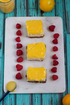 Meyer Lemon Cheesecake Bars from The Girl In The Little Red Kitchen
