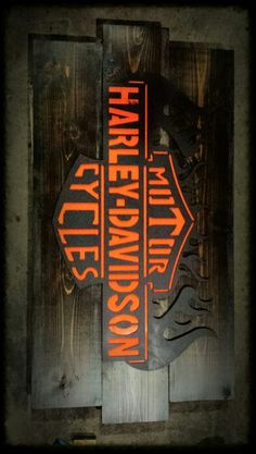 Metal and wood Harley Davidson sign