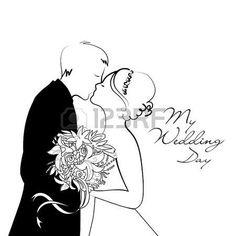 Black and White Wedding Hintergrund Lizenzfreie Bilder