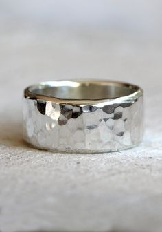 Hammered band men's wide band hammered ring in sterling silver by PraxisJewelry on Etsy