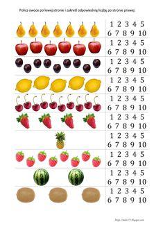 BLOG EDUKACYJNY DLA DZIECI: LICZĘ DO 10 - KARTY PRACY Math For Kids, Montessori, Diy And Crafts, Preschool, Internet, Education, Fruit, Food, Children
