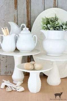 DIY-Faux-Milk-Glass-Cake-Stand-The-Crowned-Goat-18 How to Make a Faux Milk Glass Cake Stand Crafts DIY Fall Holidays