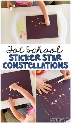Tot School: Space Stickers are always an engaging way to fit in some fine motor practice, so these sticker star constellations are perfect for a space theme in tot school, preschool, or the kindergarten classroom. Space Crafts Preschool, Preschool Themes, Preschool Science, Science Education, Physical Education, Space Activities For Preschoolers, Toddler Classroom, Preschool Classroom, In Kindergarten