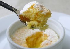 "Lemon Pudding Cakes recipe - ""This sweet little dessert (that by the way is low-cal), has a delicate sauce on the bottom....a nice little surprise.  It's perfection. Make it soon, you will love it too."""