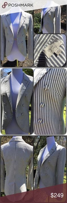 """Sophisticated Cool 😎 E&J Jacket 🌟 like new! Ladies this is the most amazing jacket! One of my all time faves. too small for me 😩 just look at it! Wow! A super cool take on pinstripe like you've never seen. And cut like a jacket with tails but not! The pockets are even still sewn shut! One slit breast pocket. Two side pockets and one interior pocket (that was always open) back vent. Three button sleeves. Fully lined. Measures approx 17"""" pit to pit. 14.25 shoulders. Like new condition…"""