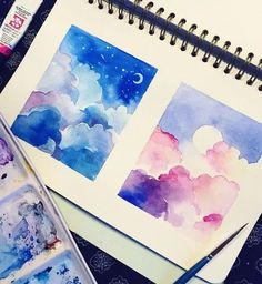 31 Easy Watercolor Art Ideas for Beginners // Easy painting ideas, easy simple watercolor, pastel painting, cloud painting Easy Paintings For Beginners, Watercolor Paintings For Beginners, Watercolor Landscape Paintings, Gouache Painting, Watercolor Artists, Watercolor Clouds, Kids Watercolor, Abstract Watercolor, Watercolor Flowers