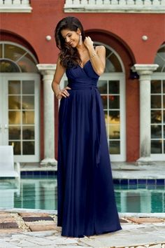 long bridesmaid dress with tie at waist