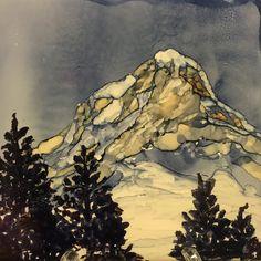 Mount hood. 4 x 4 tile alcohol ink, Deb Boudreau, Sleepless nights art