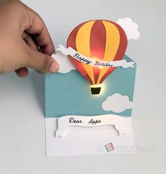 A blog about crafting, scrapbooking, embossing, airbrushing, DIY home decor, creativity and much more! The Balloon, Hot Air Balloon, Dad Birthday, Happy Birthday, Light Up Balloons, One Light, Hello Everyone, Card Stock, Card Ideas
