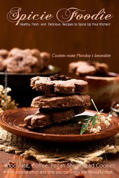 Chocolate, Coffee, Pecan Shortbread Cookies