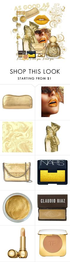 """As Good As Gold"" by angel12x ❤ liked on Polyvore featuring Rodo, Yves Saint Laurent, STELLA McCARTNEY, NARS Cosmetics, Claudio Riaz, Christian Dior, Tom Ford, Lime Crime, Dior and golden"