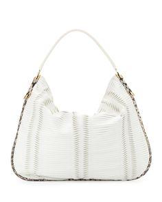 Jimmy Choo Zoe Large Pleated Hobo Bag, White