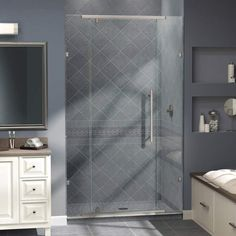 "View the DreamLine SHDR-21467610 Vitreo Frameless Pivot Shower Door 46 1/8"" x 76"" - Reversible for Left or Right Install  at FaucetDirect.com."