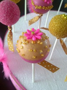 Glittering Gold & Hot Pink Cake Pops