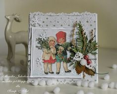 Vintage Christmas card by Monia - Cards and Paper Crafts at Splitcoaststampers Christmas Cards To Make, Vintage Christmas Cards, Christmas Tag, Xmas Cards, Vintage Cards, All Things Christmas, Holiday Cards, Christmas Crafts, Christmas Decorations