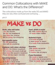MAKE VS DO. English Tips, English Book, English Lessons, Learn English, English Phrases, English Words, English Grammar, English Language Learners, Education English