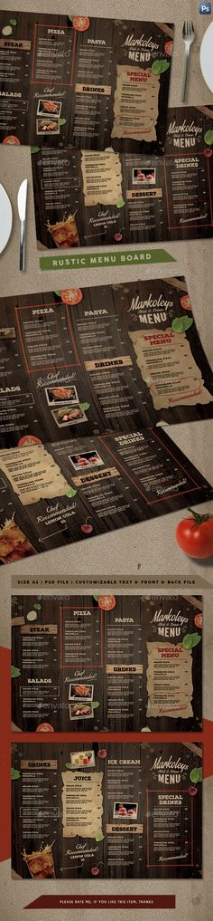 Rustic Cafe Menu Board — Photoshop PSD #food menu #menu design • Download ➝ https://graphicriver.net/item/rustic-cafe-menu-board/20349425?ref=pxcr