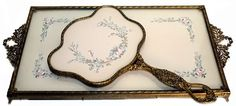 Anitque Hand Painted French Silk Roses Ormolu Vanity Tray & Hand Mirror