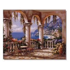 Sung Kim Terrace Arch I painting is available for sale; this Sung Kim Terrace Arch I art Painting is at a discount of off. Landscape Art, Landscape Paintings, Impressionist Landscape, Belle Image Nature, Pintura Exterior, Murals Your Way, Tile Murals, Mural Wall, Wall Decal