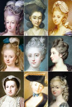 "18th Century Woman's Hairstyles A collection of 18th Century paintings from France & England, depicting some of the hairstyles of the time, among them the tête de mouton (or ""sheep's head""), the pouf..."