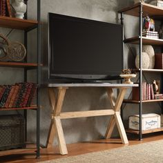 Oxford Creek Highland Zinc-Topped TV Stand Console, Brown