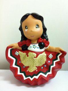 Muñeca regional con vestido típico de méxico - ceramic doll