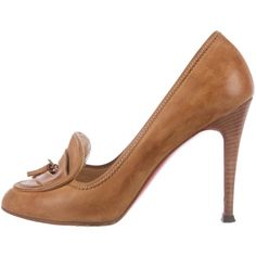 Pre-owned Christian Louboutin Leather Loafer Pumps ($275) ❤ liked on Polyvore featuring shoes, pumps, brown, tassel loafers, pointed toe loafers, brown leather pumps, christian louboutin shoes and brown loafers