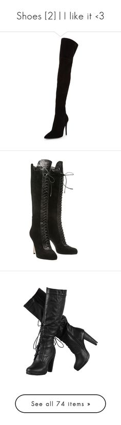 """""""Shoes [2]   I like it <3"""" by aryery06gemini ❤ liked on Polyvore featuring shoes, boots, black thigh-high boots, over-knee boots, black over-the-knee boots, suede over-the-knee boots, suede boots, heels, shoes and boots and lace up boots"""